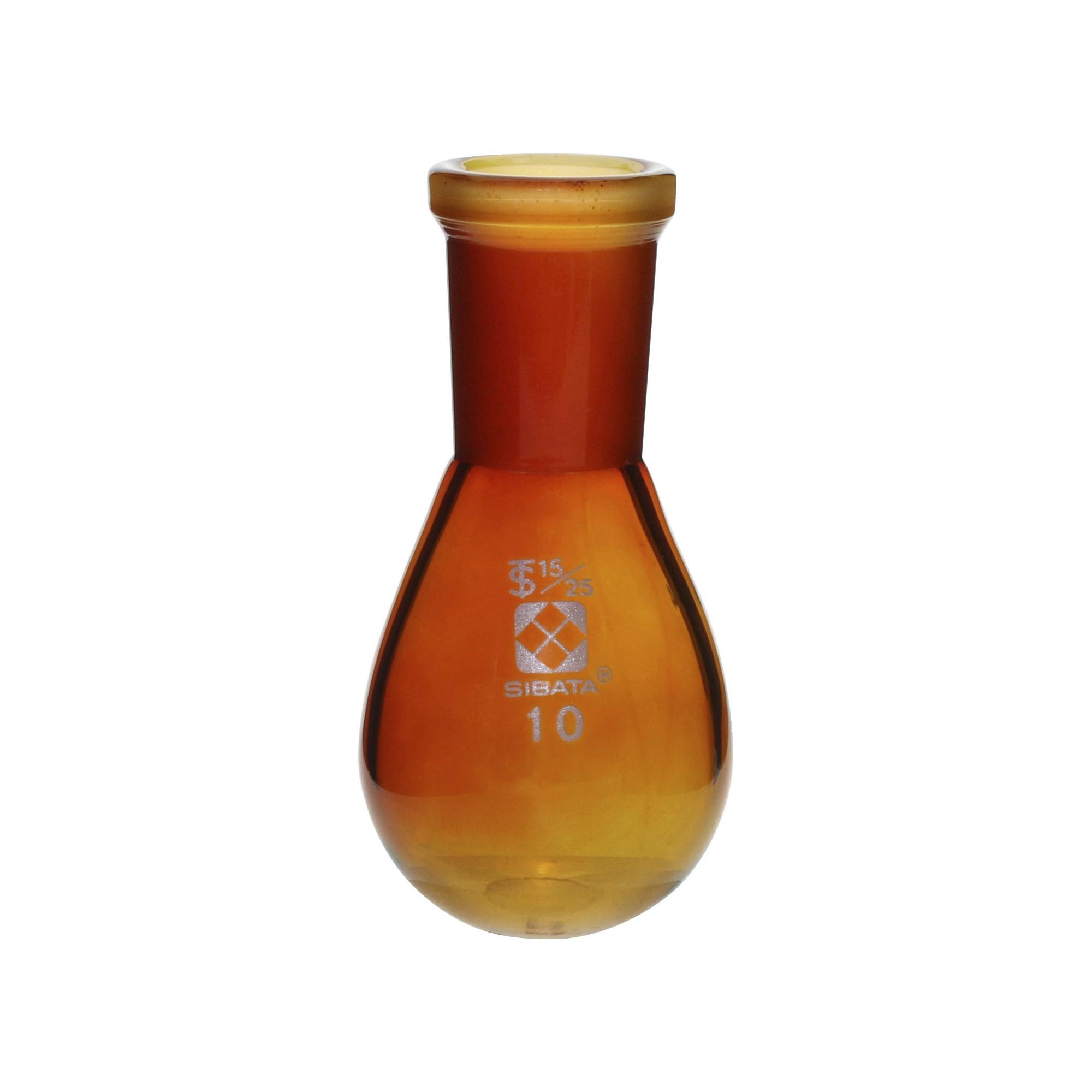 005270-1510 共通摺合なす形フラスコ 茶褐色 10mL 15/25 柴田科学(SIBATA)
