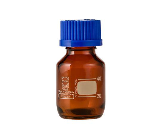 DURAN ねじ口びん 褐色 青キャップ付 50mL GL-32