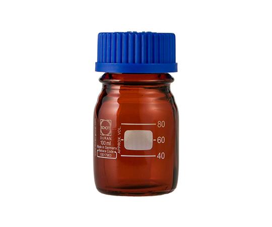 DURAN ねじ口びん 褐色 青キャップ付 100mL GL-45
