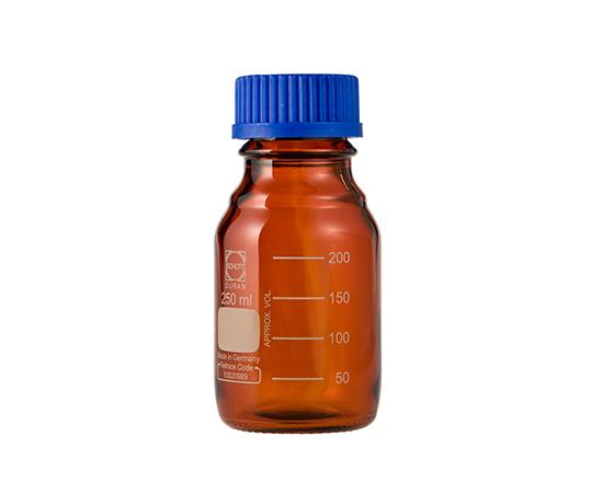 DURAN ねじ口びん 褐色 青キャップ付 250mL GL-45