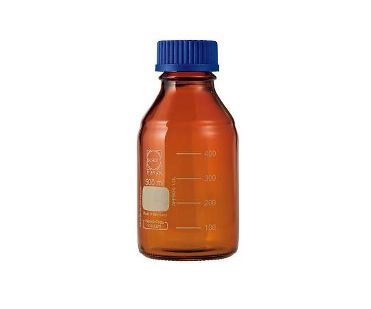 DURAN ねじ口びん 褐色 青キャップ付 500mL GL-45
