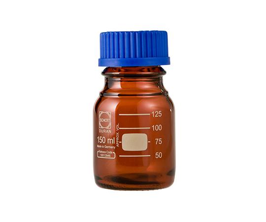 DURAN ねじ口びん 褐色 青キャップ付 150mL GL-45