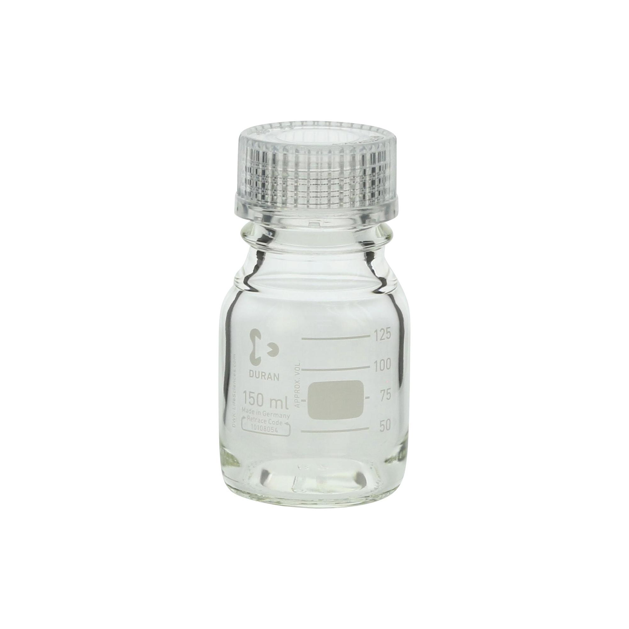 DURAN ねじ口びん 透明キャップ付 150mL GL-45(10個)