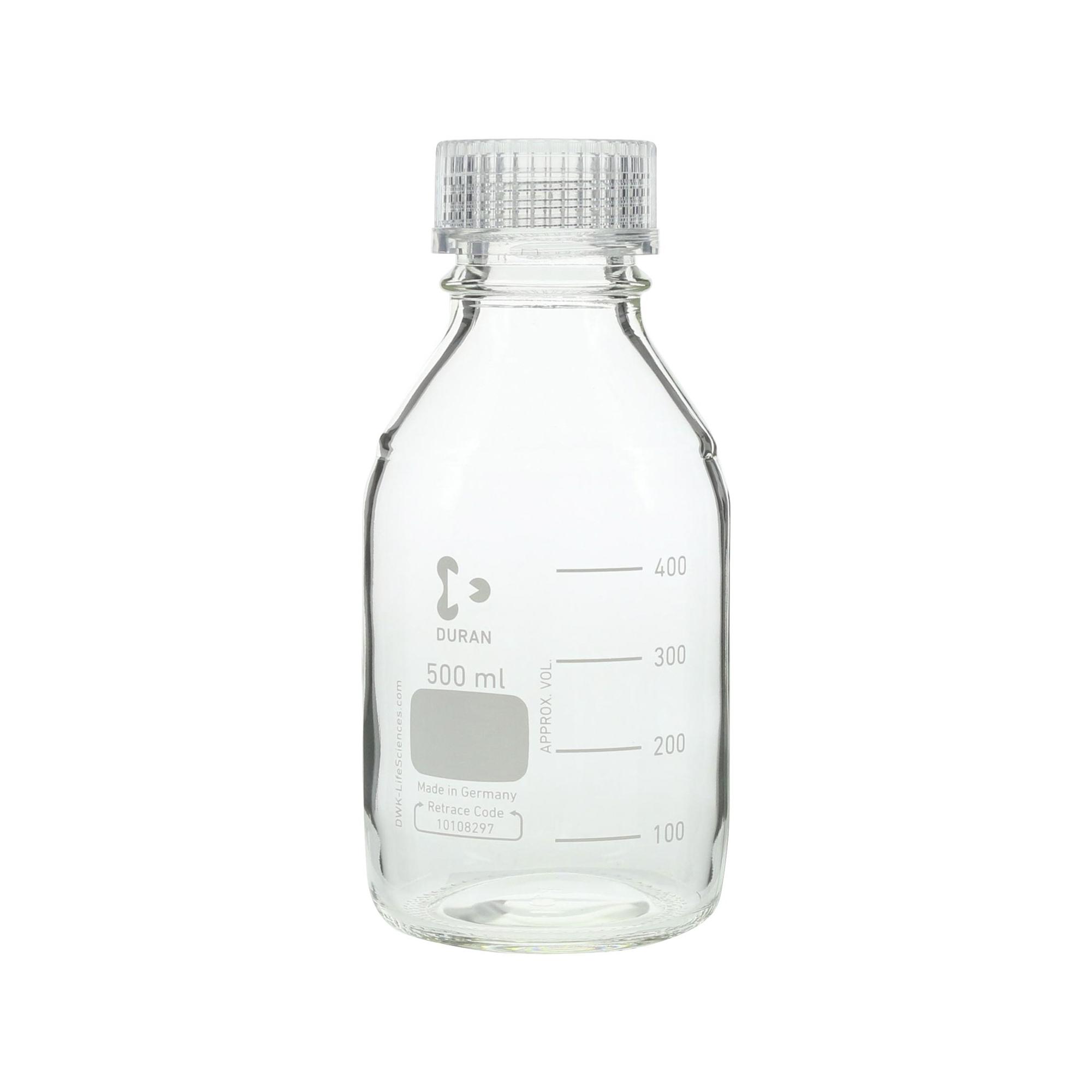 017200-5003A DURAN ねじ口びん 透明キャップ付 500mL GL-45(10個) 柴田科学(SIBATA)
