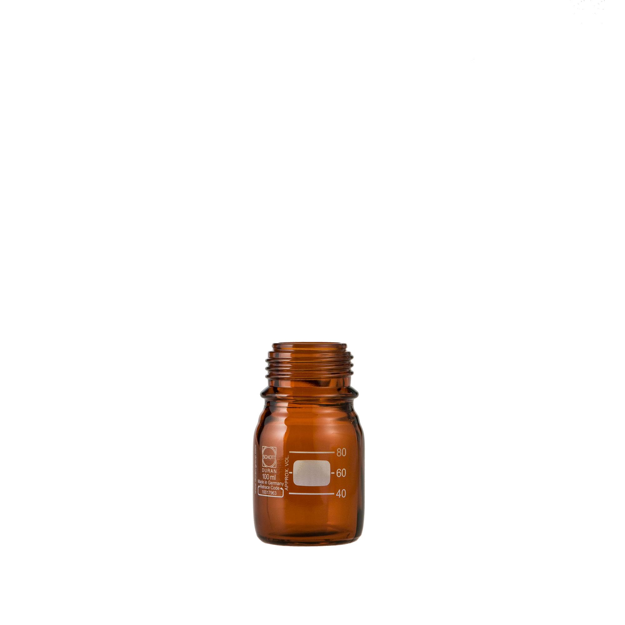 DURAN ねじ口びん(メジュームびん) 茶褐色 びんのみ 100mL GL-45(10個)