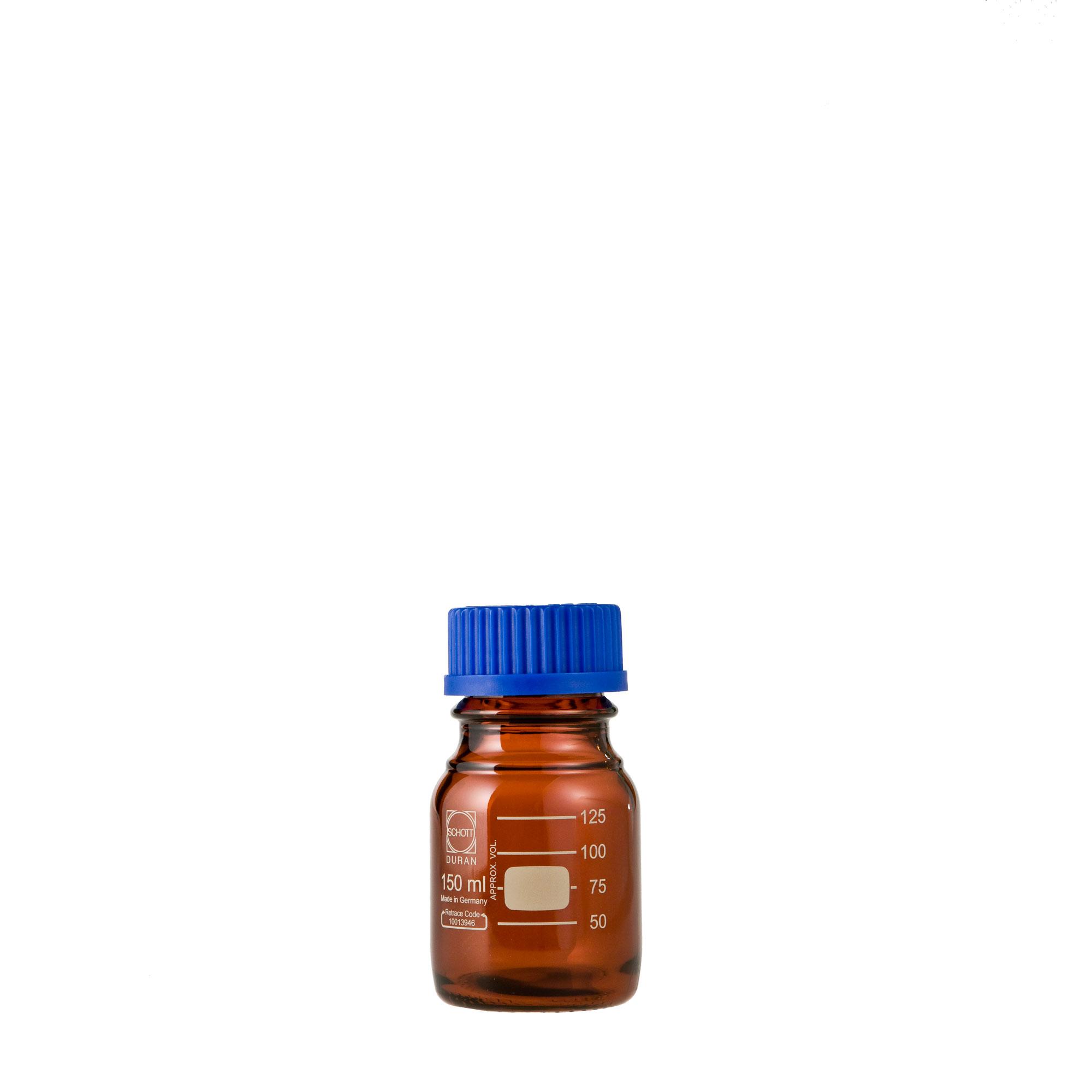 017210-150A DURAN ねじ口びん 褐色 青キャップ付 150mL GL-45(10個) 柴田科学(SIBATA)