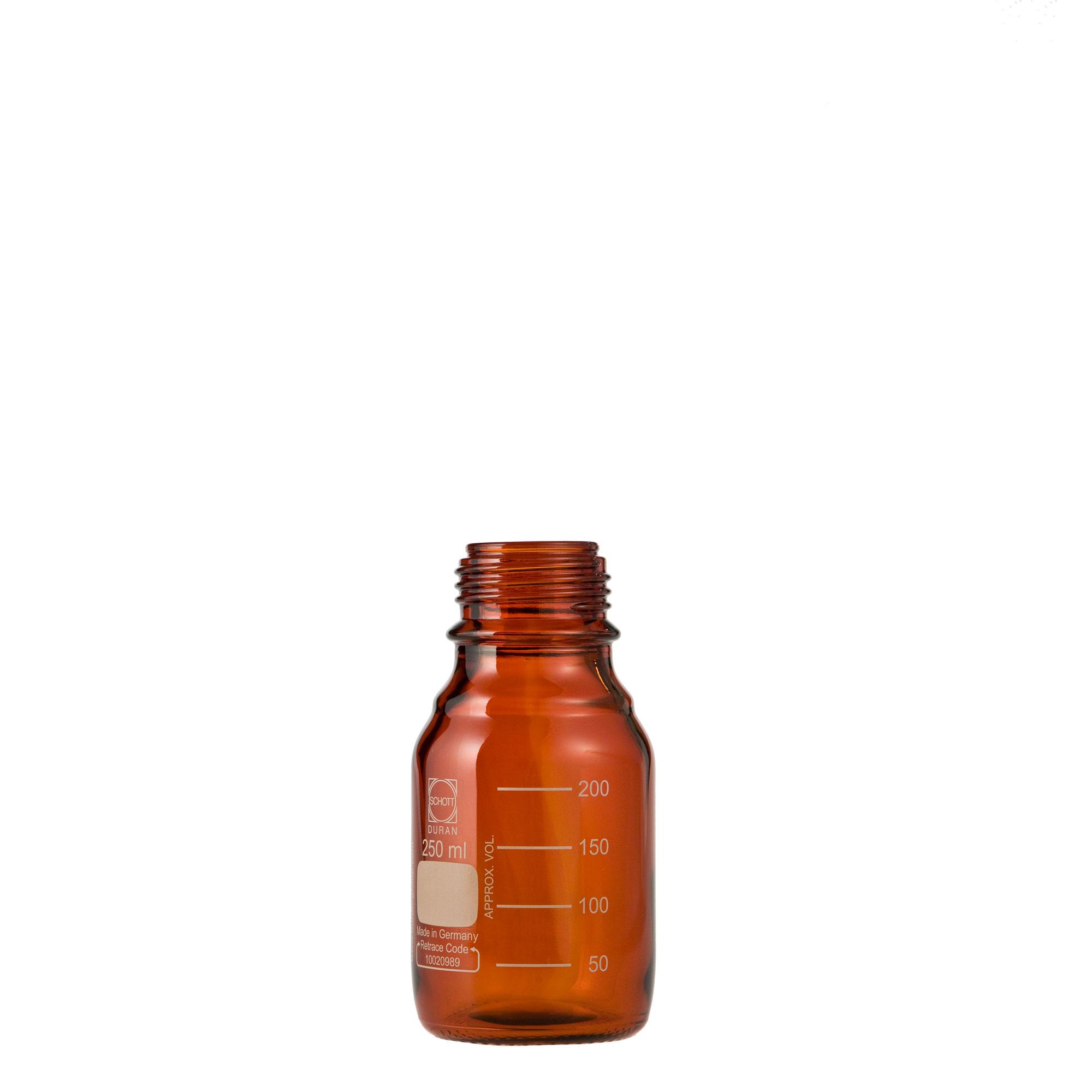 DURAN ねじ口びん(メジュームびん) 茶褐色 びんのみ 250mL GL-45(10個)