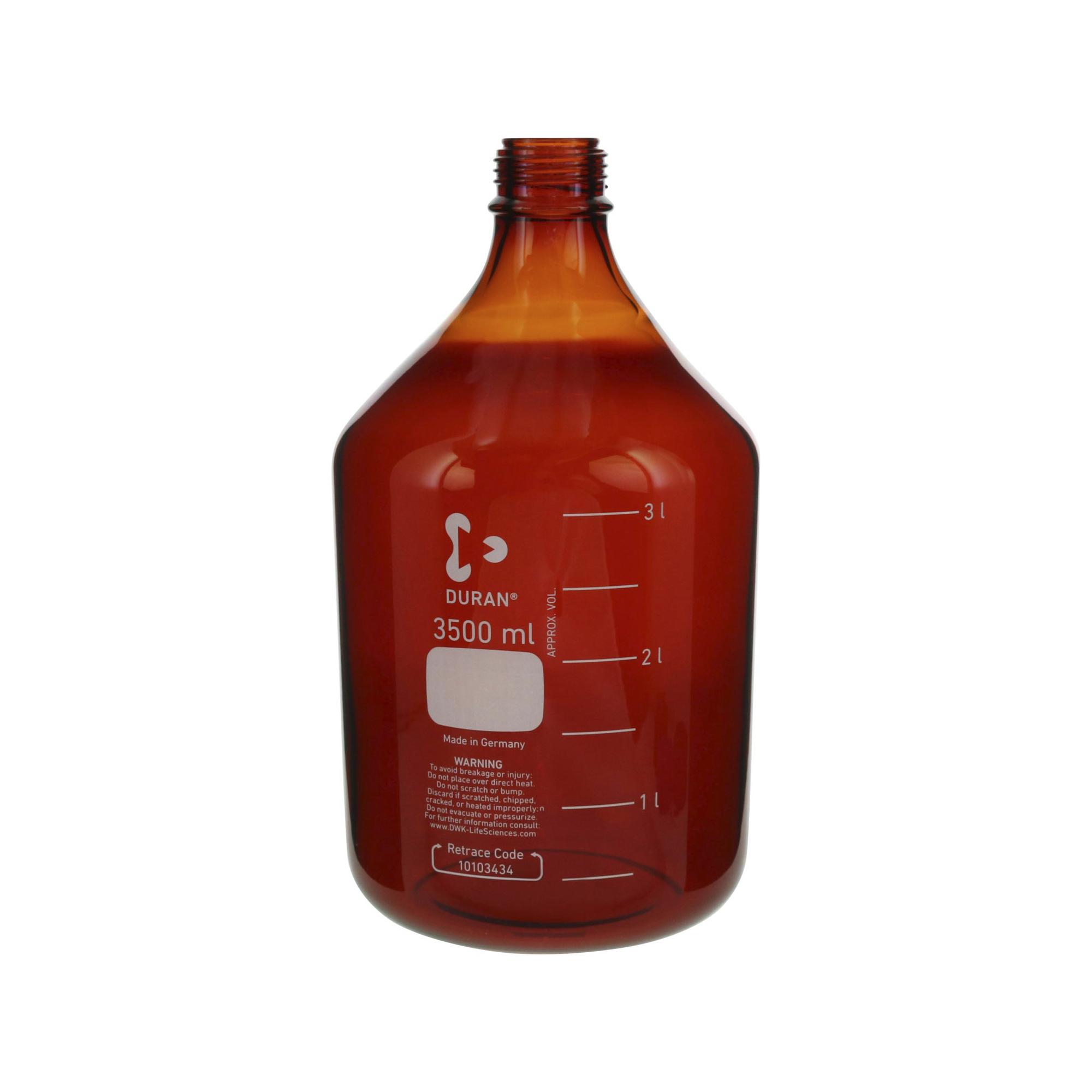 017210-35004 DURAN ねじ口びん(メジュームびん) 茶褐色 びんのみ 3.5L GL-45 柴田科学(SIBATA)