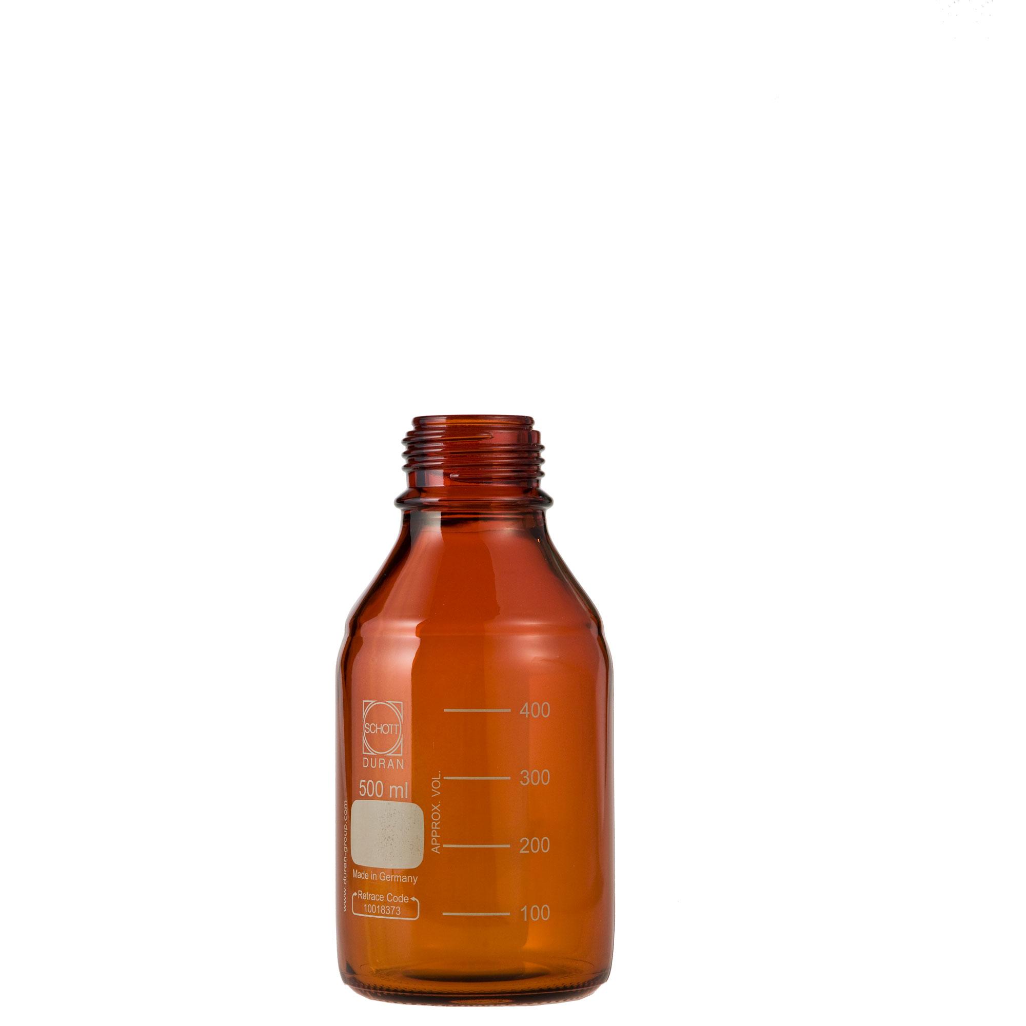 DURAN ねじ口びん(メジュームびん) 茶褐色 びんのみ 500mL GL-45(10個)