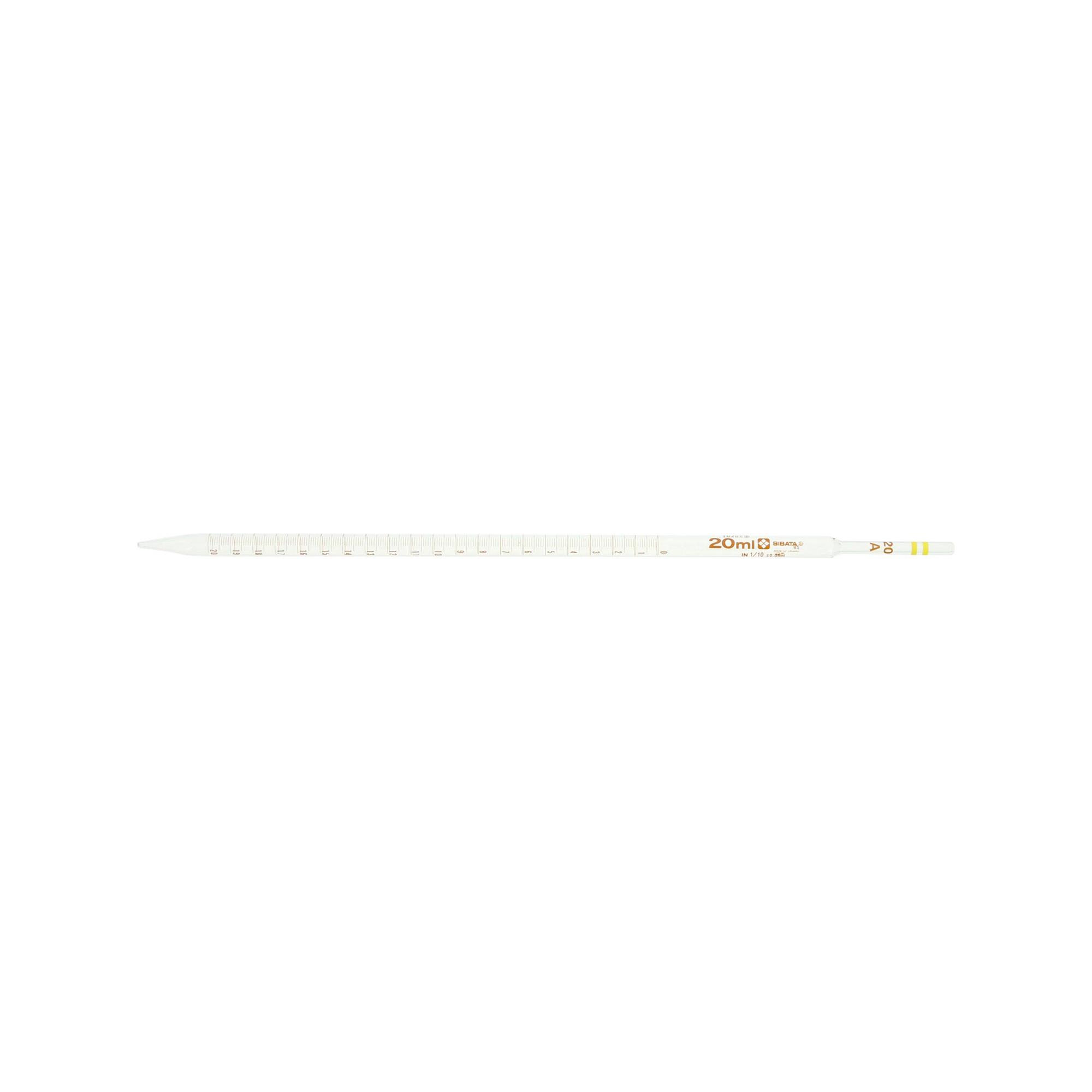 メスピペット 中間目盛 カラーコード付 スーパーグレード 20mL (10本)