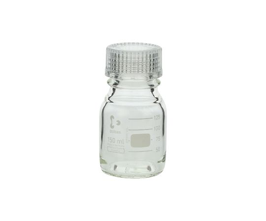 DURAN ねじ口びん 透明キャップ付 150mL GL-45