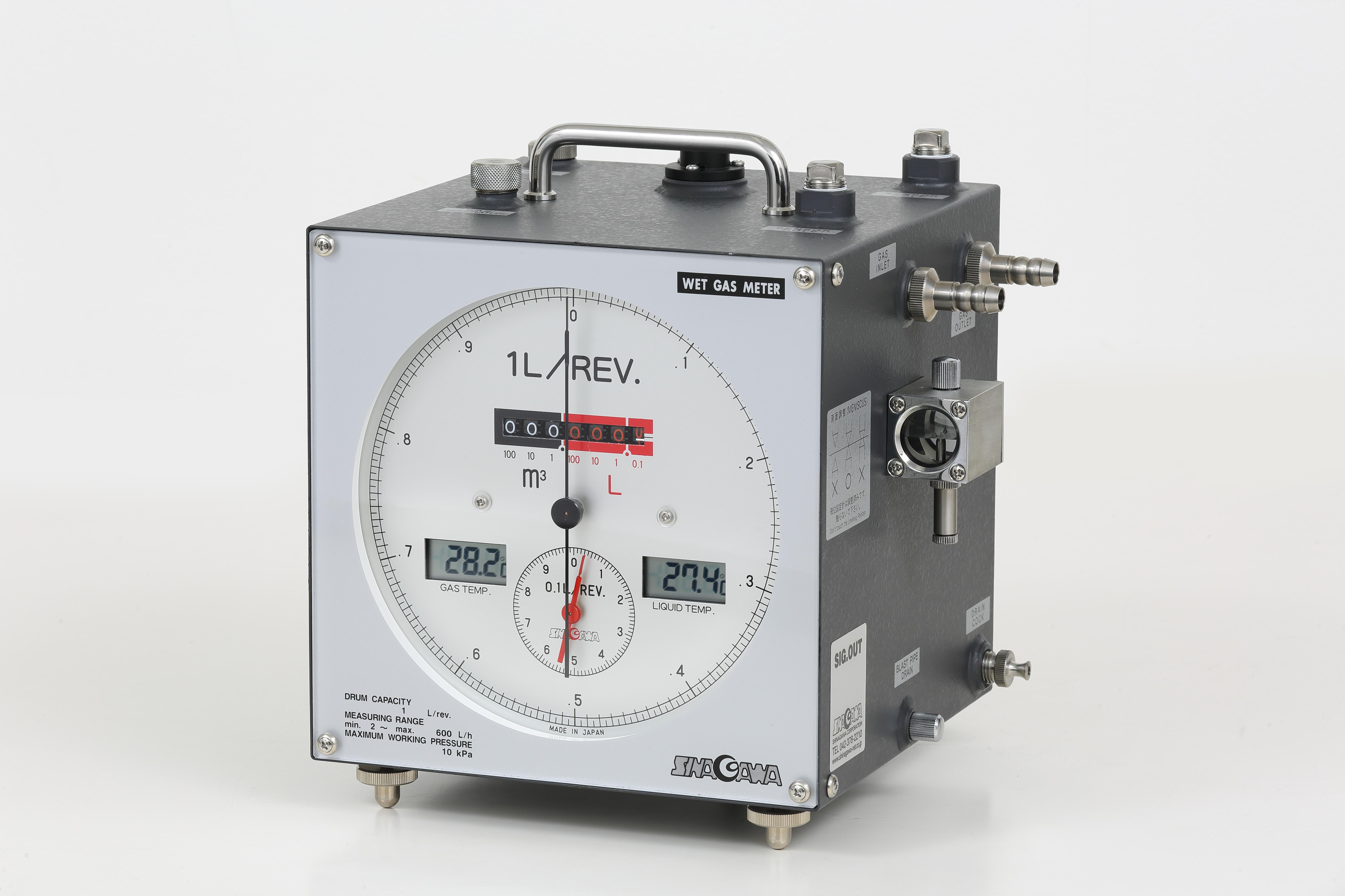 湿式ガスメーター 1L W-NKDa-1B(デジタル温度計仕様)