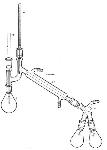 AB25D-3-1 リービッヒ蒸留装置 K字管付 AB25D-3型 100mL 桐山製作所(KIRIYAMA)