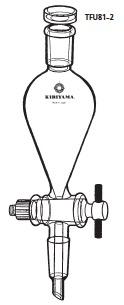 TFU81-2-4 透明共通摺合せ 分液ロート スキーブ型 フッ素樹脂コック付 TFU81-2型 100mL 19/28 19/38 桐山製作所(KIRIYAMA)