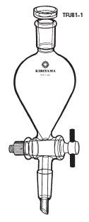 TFU81-1-6 透明共通摺合せ 分液ロート ヘルツ型 フッ素樹脂コック付 TFU81-1型 300mL 19/28 19/38 桐山製作所(KIRIYAMA)