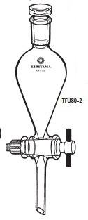 TFU80-2-5 分液ロート スキーブ型 フッ素樹脂コック付 TFU80-2型 200mL 24/40 桐山製作所(KIRIYAMA)