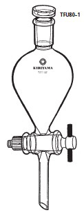 TFU80-1-5 分液ロート ヘルツ型 フッ素樹脂コック付 TFU80-1型 200mL 24/40 桐山製作所(KIRIYAMA)